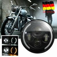 "7"" 60W LED Motorrad H4 Hi/Lo Scheinwerfer Projektor Lamp Für Harley E-Geprüft DE"
