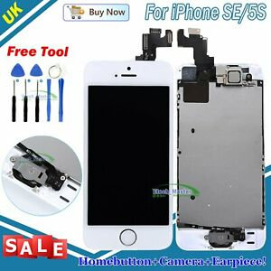For iPhone SE 5S LCD Screen Display Touch Screen White+ Home Button Camera UK