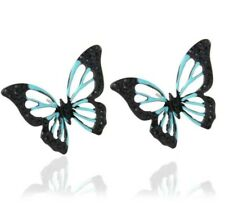 CRYSTAL BUTTERFLY earrings black and light blue MUM wedding holiday BIRTHDAY 572