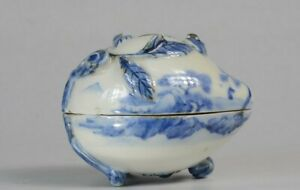 Korean Blue and White Porcelain Landscape LIDDED CONTAINER 李朝青華山水文蓋物
