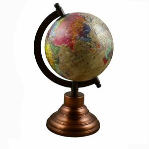 Globe World Map Antique Earth Beautiful Table Decor Home Office Beige 10.5 Inche