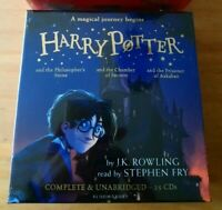 HARRY POTTER AUDIO BOOKS 1-3 J K ROWLING. STEPHEN FRY UNABRIDGED 25 CDs RRP £95