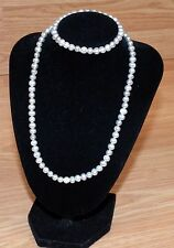 """16"""" Inch Real Dyed Potato Shaped Freshwater Light Gray Pearl Necklace & Bracelet"""