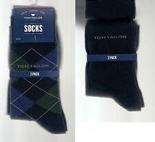 2er Pack Socken, kariert / unifarben, marine-royal-grün, 39-42  *TOM TAILOR*