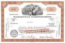Marlennan Corporation Stock Certificate Delaware 1970 (67890)