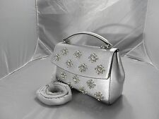 MICHAEL KORS AVA JEWELRY LEATHER SILVER SMALL TOP HANDLE  SATCHEL  HANDBAG