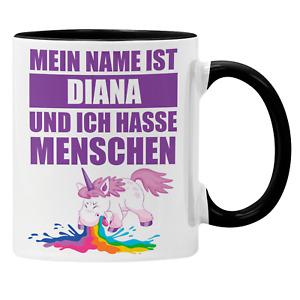 Tasse mit Namen und Spruch Ich hasse Menschen kotzendes Einhorn Geschenk-Idee