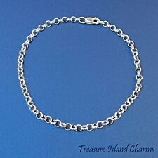 "7.5"" 3mm Round Rolo .925 Solid Sterling Silver Traditional Charm Bracelet"