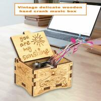 Retro Hand Cranked Music Box Wood Carved Kid Child Birthday Gift Home Decor