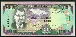 Jamaica 100$ 1999.02.15. Sir Donald Sangster & Dunn's River Falls P76b UNC