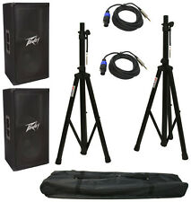 "(2) Peavey Pv112 Pro DJ 12"" 800W Passive Speakers Stands Speakon To 1/4"" Cables"