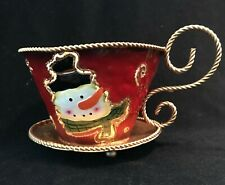 Metal Snowman Tea Light Cup Candle Christmas Collectible