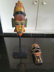2 Small Wooden Masks 1 on Stand 1 For The Wall