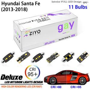 11 Blubs LED Interior Dome Light Kit Cool White For 2013-2018 Hyundai Santa Fe