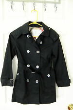 AUTH Burberry Girl Buckingham Double Breasted Hooded Trench Coat in Black 8Y NWT