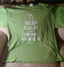 Keep Calm And Drink MI Beer Men XL T Shirt Green 100% Preshrunk Cotton Michigan