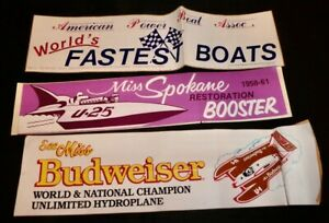 (3) VINTAGE HYDROPLANE/HYDROPLANE THEMED BUMPER STICKERS (ALL CREASED)
