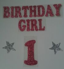 Iron on transfer birthday girl +2 stars + number in 8 colours  size 14x 2cm