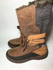 b99b85dd2af32 Merrell Sylva Tall Waterproof Boots Size 5.5 Brown Tan Grey J02080 Winter