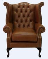 Chesterfield Armchair Queen Anne High Back Wing Chair Bruciato Leather