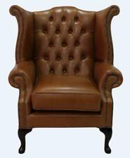 Fauteuil Chesterfield Queen Anne dossier haut aile chaise Bruciato Cuir