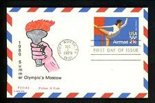 US FDC #UXC18 PCC-A1 / RJT Hand Painted HP 1979 TX Olympics Sports Gymnast Card