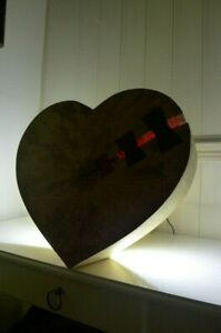 Handmade wooden desk led strip lamp with chunky heart design shabby chic unique