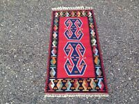 Authentic Hand Knotted Turkish Wool Kilim Area Rug 2x4ft
