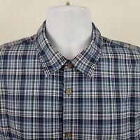 John Varvatos USA Mens Blue Plaid Check S/S Casual Button Shirt Sz Medium M