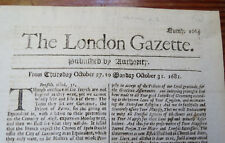 THE LONDON GAZETTE OCT 31, 1681 - King Charles II