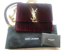 NUOVO Yves Saint Laurent Vicky Cross Body Bag Borsa in VELVET VELLUTO Burgundy Red