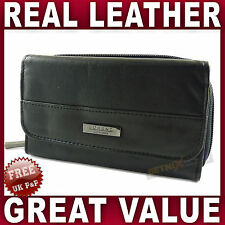 Black LEATHER PURSE Good Quality credit cards coin section wallet womens Ladies