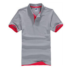 Mens Short Sleeve Golf Polo Neck T Shirt Summer Casual Slim Fit Tops Leisure Tee