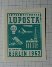 Intl Luposta Berlin Germany 1962 Air Travel Philatelic Souvenir Ad Label