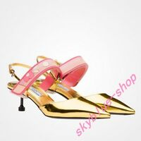 Womens Fashion Runway Special Heels Pointy Toe Buckle Strap Synthetic Leather Sz