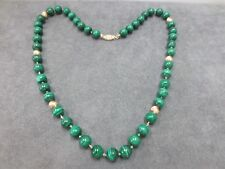 """14K Vintage 19"""" 8mm Malachite Solid 14K Gold Ball Beaded Necklace"""
