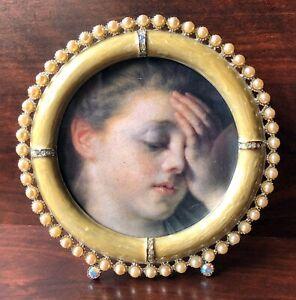 Jay Strongwater Duchess Emilia Round Frame Yellow Enamel Pearl Swarovski Crystal