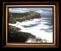 """SEASCAPE"" FLORIDA HIGHWAYMEN STYLE OIL ON CANVAS FRAMED VINTAGE PAINTING"
