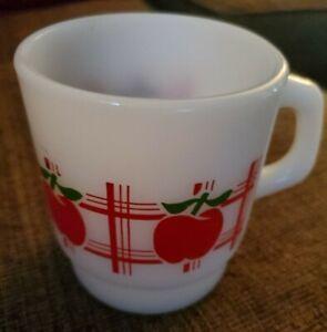 RARE Vintage Anchor Hocking Milk Glass Plaid Apple Stacking Coffee Mug Cup
