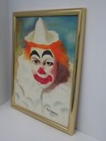 """Original Oil Painting Circus Clown Framed and Signed 15 1/2""""x 19 1/2"""" Excellent!"""