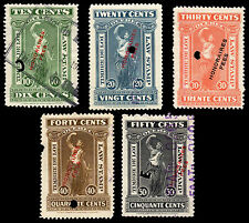 Canada Quebec Honoraries Fees on 1912 Law Stamp Set of 5 Stamps QL73 QL77 #201