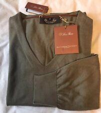 NWT $1695 LORO PIANA Feather Thin Baby Cashmere V-Neck Sweater Sz XL/ EU 54