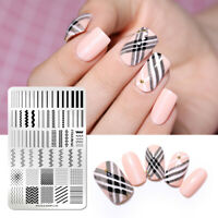 NICOLE DIARY Stamping Plates Stainless Steel Geometric Nail Stamp Stencil L04