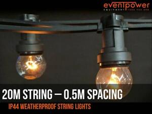 20m Festoon Outdoor Party String Lights 50cm lampholder spacing – B22 socket