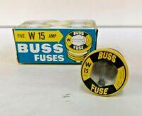 4-PK W-15 BUSS PLUG FUSE Bussmann NEW Fuses 15 Amp SCREW-IN Type W