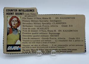 Vintage 1982 GI Joe Scarlett File Card Only ARAH Cobra French English