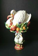 Fitz and Floyd Essentials Swan Centerpiece Holiday Decor With Pillar Holder