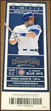 8/20/2017 Chicago Cubs vs Toronto Blue Jays Ticket Alex Avila WO Miguel Montero