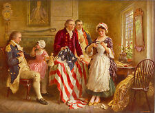 George Washington Betsy Ross American Flag Painting Fine Art Real Canvas Print