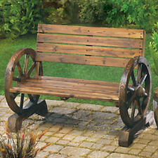 Wagon Wheel Themed Wood Garden Bench Furniture